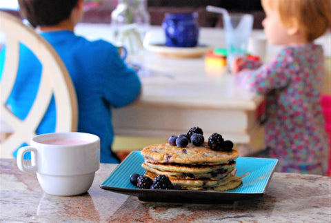 kids breakfast, pancakes, flapjacks, blueberry pancakes, avocado oil, cooking with avocado oil