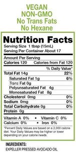 nutrition facts for avocado oil, neomega avocado oil, high heat avocado oil,