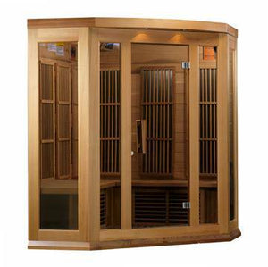 "Golden Designs Maxxus ""Montilemar Edition"" 3 Person Corner Near Zero EMF FAR Infrared Sauna - Canadian Red Cedar - EWOT"