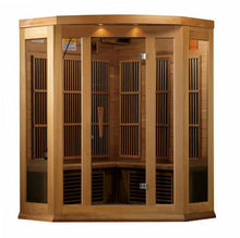 "Load image into Gallery viewer, Golden Designs Maxxus ""Montilemar Edition"" 3 Person Corner Near Zero EMF FAR Infrared Sauna - Canadian Red Cedar - EWOT"