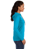 Long Sleeve Women's Hooded Tee - Caribbean Blue