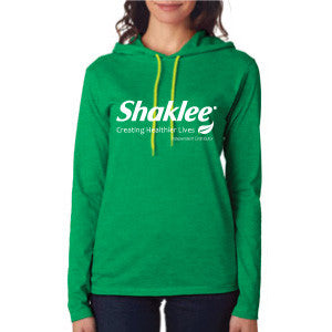 Long Sleeve Women's Hooded Tee - Standard Green
