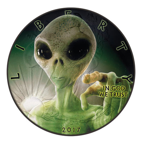 2017 1 Ounce American Eagle Glow in the Dark Alien Colored and Ruthenium Silver Coin