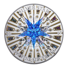 2017 Cook Islands 1 Kilogram Giant Moravian Star Swarovski Crystal St. Peter's Basilica Silver Coin