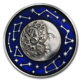 2017 Niue 2 Ounce Celestial Bodies Moon Colored & Enameled Silver Coin - Art in Coins
