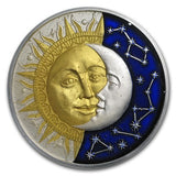 2017 Niue 2 Ounce Celestial Bodies Sun and Moon Colored & Enameled Silver Coin - Art in Coins