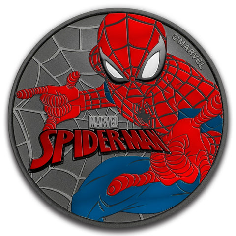 2017 Tuvalu 1 Ounce Marvel Spiderman Colored and Ruthenium Silver Coin