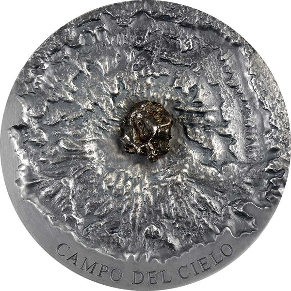 2018 Chad 5 Ounce Campo del Cielo Meteorite Art High Relief Antique Finish Silver Coin