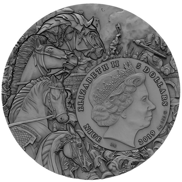 2019 Niue 2 Ounce Four Horsemen of the Apocalypse Red Horse Silver Coin Obv