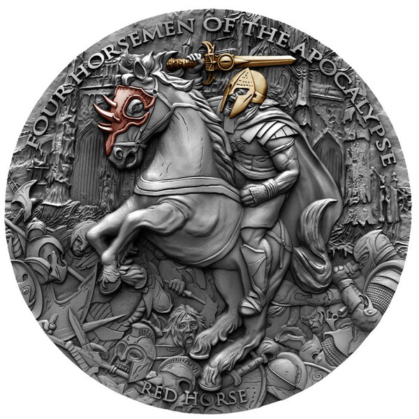 2019 Niue 2 Ounce Four Horsemen of the Apocalypse Red Horse Silver Coin