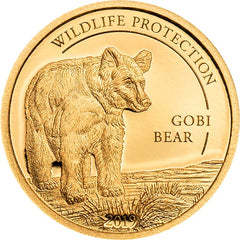 2019 Mongolia 1/2 Gram Wildlife Protection Gobi Bear Ursus Arctos Gobiensis .9999 Gold Proof Coin