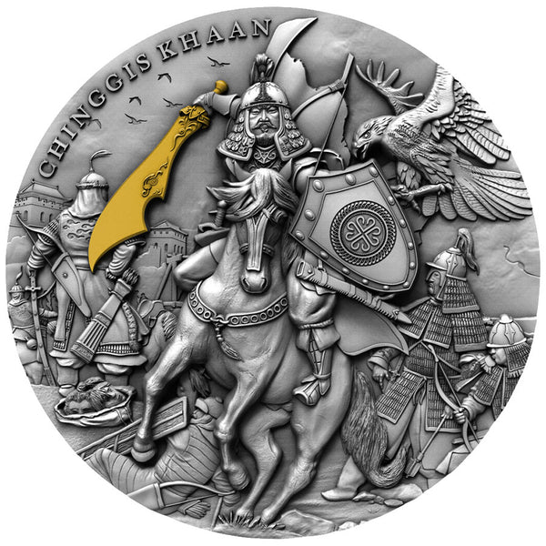2019 Niue 2 Ounce Chinggis Khaan Ultra High Relief Gold Gilded Antique Finish Silver Coin