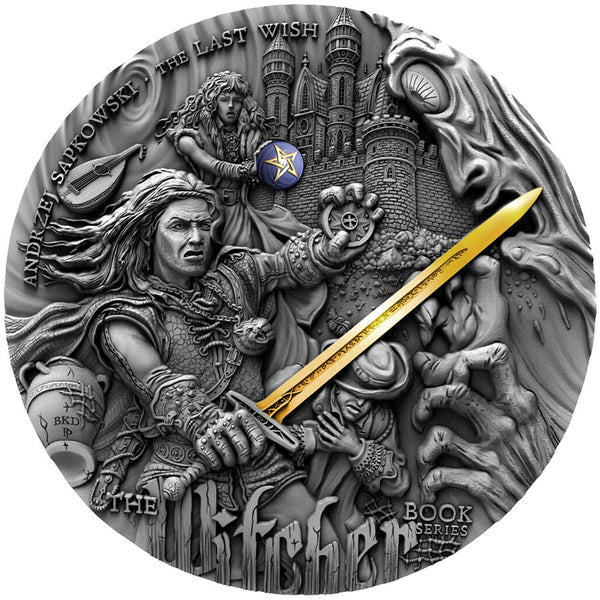 2019 Niue 2 oz Witcher Last Wish High Relief Gold Gilded Silver Coin