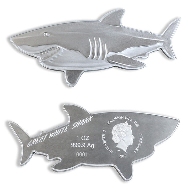 2019 SOLOMON ISLANDS 1 OUNCE HUNTERS OF THE DEEP GREAT WHITE SHARK .9999 SHAPED SILVER COIN