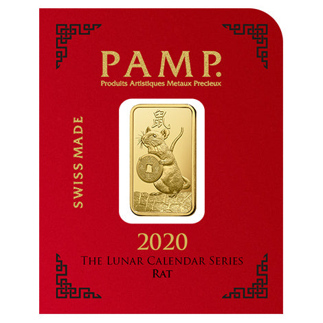 2020 PAMP 8 X 1 Multigram Lunar Year Of The Rat .9999 Gold Bars