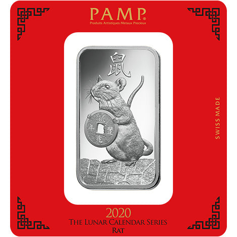 2020 PAMP 100 Gram Lunar Year Of The Rat .999 Silver Bar