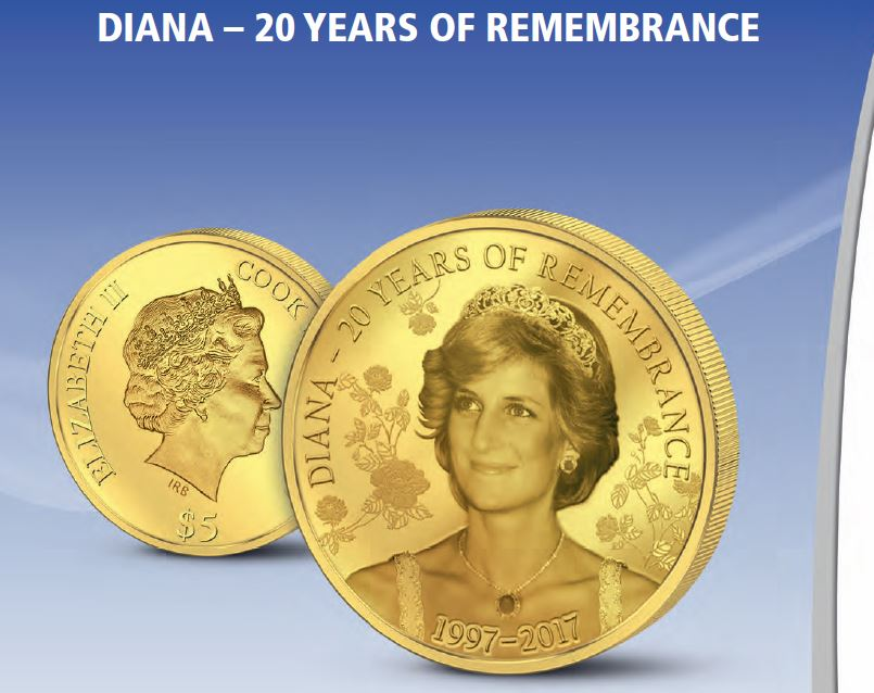 2017 Cook Islands 1/2 Gram .9999 Diana Remembrance Gold Coin - Art in Coins