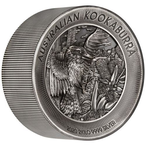 2020 Australia 2 Kilogram Kookaburra High Relief Antique Finish Silver Coin