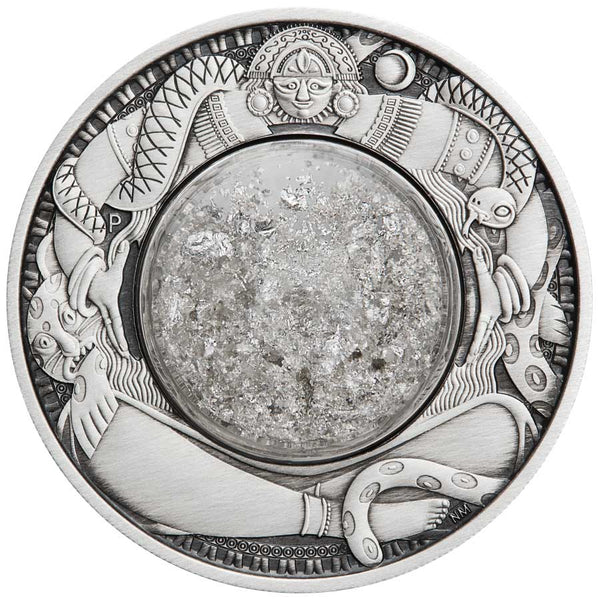 2021 TUVALU 2 OUNCE TEARS OF THE MOON ANTIQUED SILVER COIN