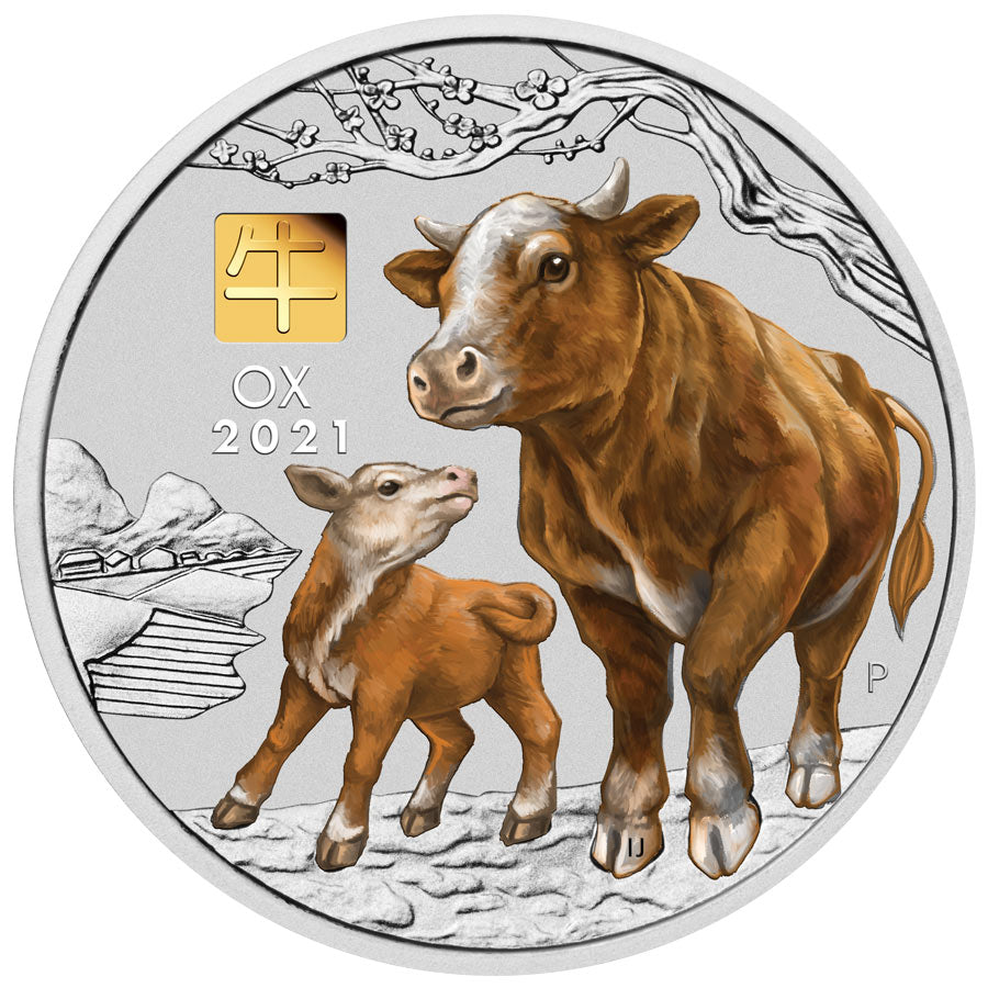 2021 Australia 1 Kilogram Year of the Ox Colored Gold Privy Silver Coin