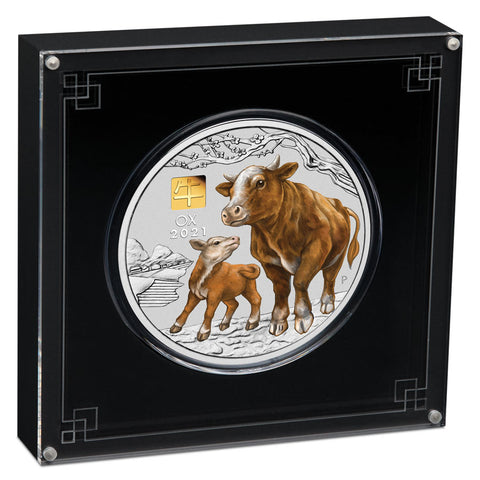 2021 Australian 1 Kilo Year of the Ox Colored Gold Privy Mark Silver Coin