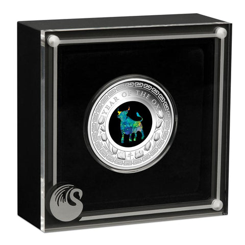2021 Australian 1 Ounce Lunar Ox Opal Series Silver Proof Coin