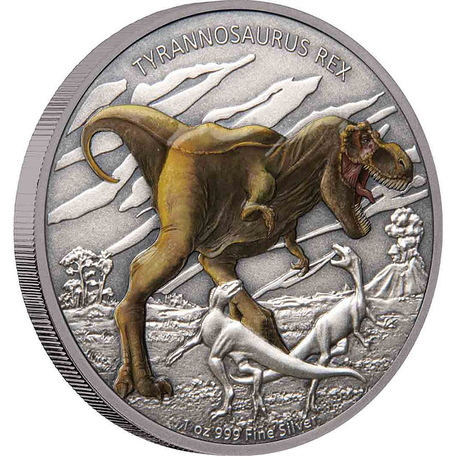 2020 Niue 1 Ounce Dinosaurs - Tyrannosaurus Colored Antique Finish Silver Proof Coin