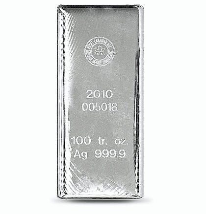 100 Ounce Royal Canadian Mint .9999 Silver Bar - Art in Coins