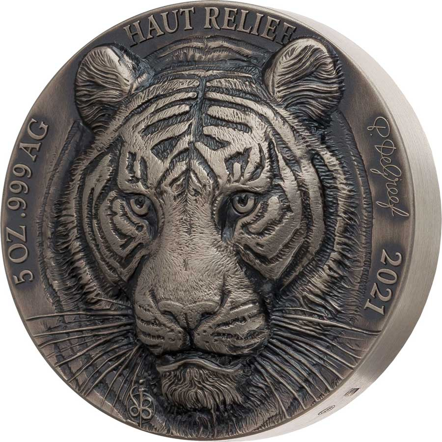 2021 Ivory Coast 5 Ounce Big 5 Asia - Tiger Ultra High Relief Silver Coin