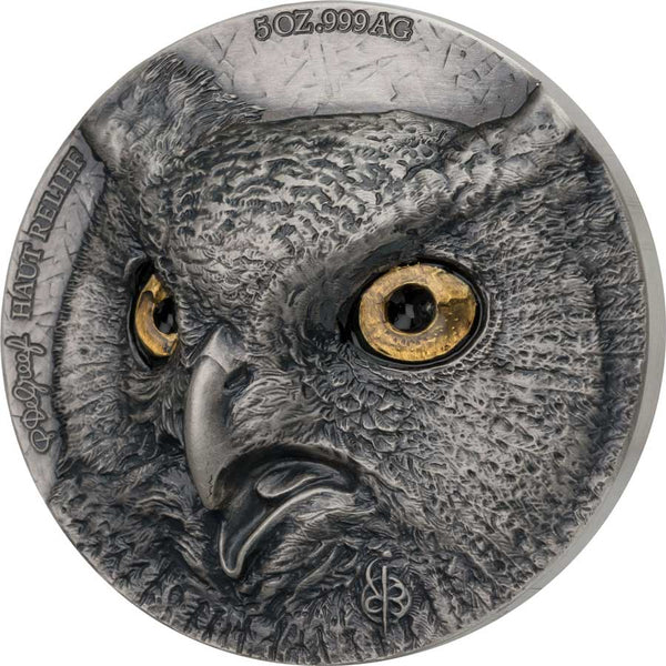 2021 IVORY COAST 2 X 5 OUNCE DE GREEF EDITION SIGNATURE OWL SILVER COIN COLLECTION