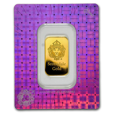 "Scottsdale Mint 10 Gram ""Certi-Lock®"" Gold Bar - Art in Coins"