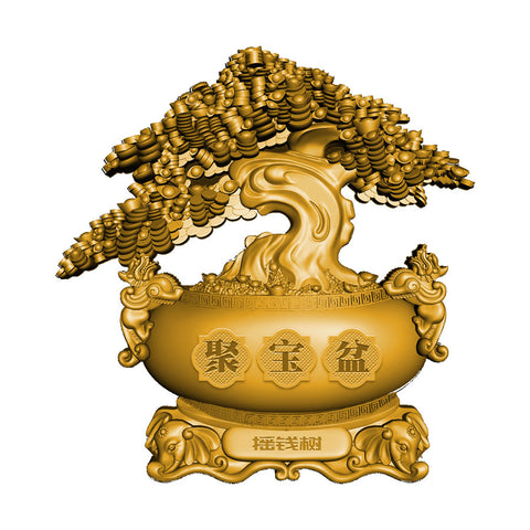 2021 Chad 2 Ounce Chinese Money Tree High Relief Antiqued Gold Finish Silver Coin