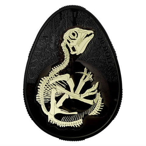 2019 Canada Hatching Hadrosaur Glow in the Dark Silver Coin
