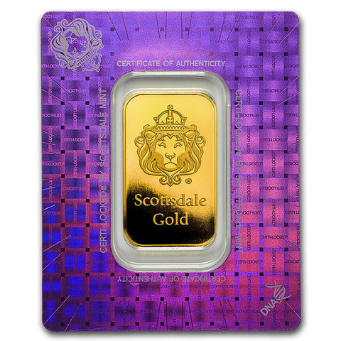"Scottsdale Mint 1 Ounce ""Certi-Lock®"" Gold Bar - Art in Coins"