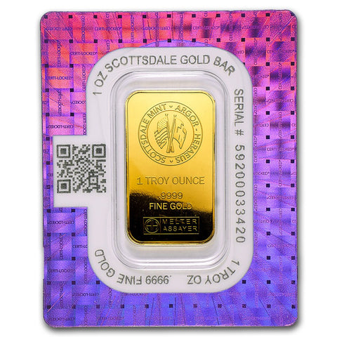 "Scottsdale Mint 1 Ounce ""Certi-Lock®"" Gold Bar - Sealed Assay"