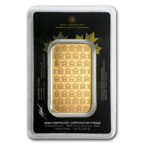 1 Ounce RCM .9999 Gold Bar - Sealed Assay