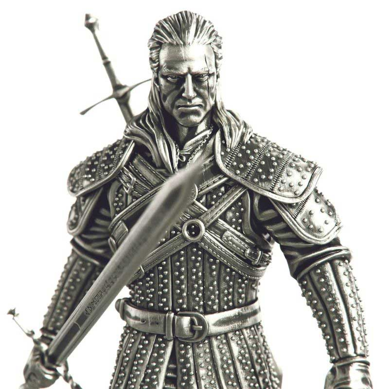 2021 Niue 1 Kilogram Witcher Geralt of Rivia White Wolf Figurine Silver Coin