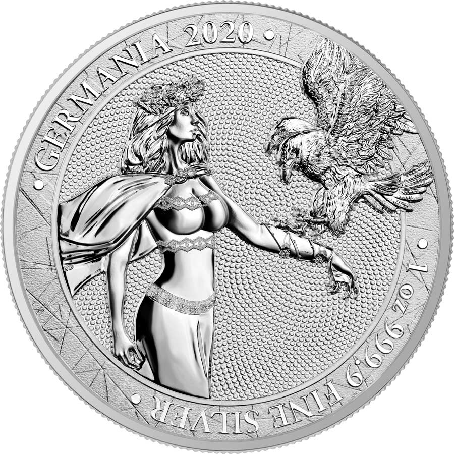 2020 Germania 1 Ounce Lady Germania 5 Marks .9999 BU Silver Round