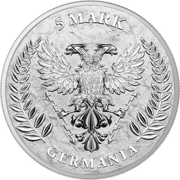 2020 GERMANIA 1 OUNCE LADY GERMANIA 5 MARKS SILVER ROUND