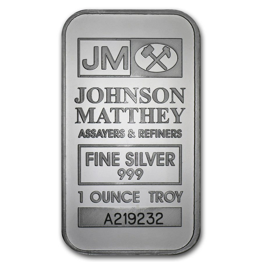 1 Ounce Johnson Matthey .999 Silver Bar - Art in Coins