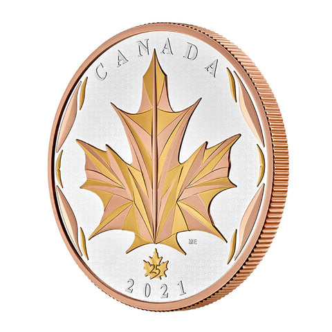 2021 RCM 5 Ounce Maple Leaves in Motion Gold Plated Silver Proof Coin