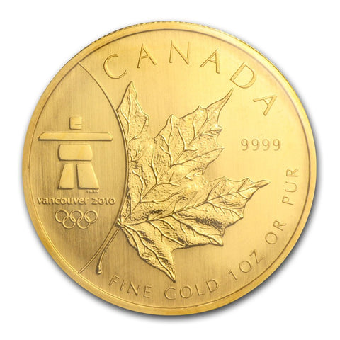 2008 RCM 1 Ounce Vancouver Olympic Edition Maple Leaf Gold Coin - Art in Coins