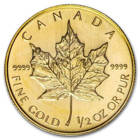 2008 Canada 1/2 Ounce Maple Leaf .9999 Gold Coin