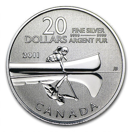 2011 RCM Lot of 4 1/4 Ounce Canoe $20 Silver Coins - Art in Coins
