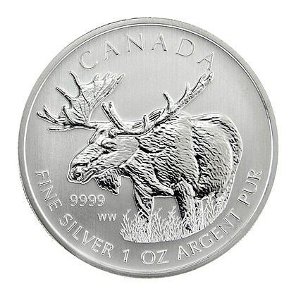 2012 RCM 1 Ounce Canadian Moose Silver Coin - Art in Coins