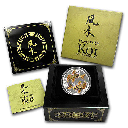 2012 Niue 1 Ounce Feng Shui Koi Colored Silver Proof Coin Set - Art in Coins