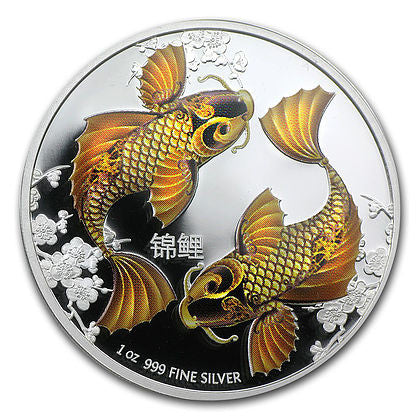 2012 Niue 1 Ounce Feng Shui Koi Colored Silver Proof Coin - Art in Coins