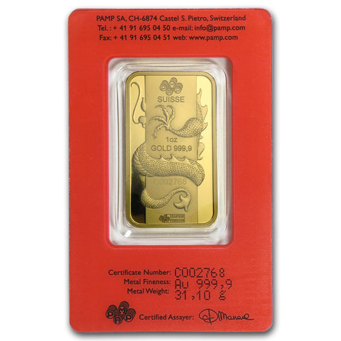 2012 PAMP 1 Ounce Lunar Year Of The Dragon Gold Bar - Art in Coins