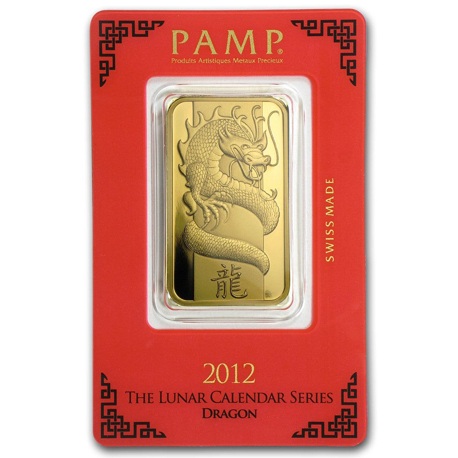 1 Ounce PAMP 2012 Lunar Year Of The Dragon Gold Bar - Sealed Assay - Art in Coins