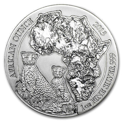 2013 Rwanda 1 Ounce African Cheetah Silver Coin - Art in Coins